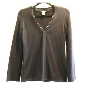 Ann Taylor black knit sweater with satin detail.
